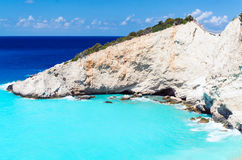 Porto Katsiki Lefkada beach. Right side cliffs Royalty Free Stock Images