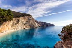 Porto katsiki in leykada. Beautiful beach porto katsiki at leukada island in Greece royalty free stock photo