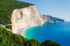 Porto Katsiki plaża na Lefkada wyspie, Grecja 2017 Zdjęcie Royalty Free