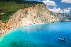 Porto Katsiki plaża w Lefkada wyspie, Grecja Obraz Stock