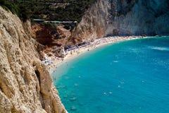 Porto Katsiki strand bij het eiland van Lefkada Royalty-vrije Stock Foto's