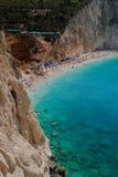 Porto Katsiki strand bij het eiland van Lefkada Stock Afbeeldingen