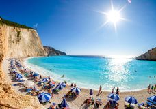 Porto Katsiki strand i den Lefkada ön, Grekland för giza för bakgrundscairo egypt förgrund sphinx för pyramid för khafre för bild Royaltyfria Bilder