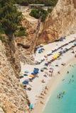 PORTO KATSIKI STRAND 28,2017 Juni Mening van porto Katsiki strand, Lefkada Griekenland Stock Foto's