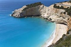 Porto Katsiki strand in Lefkada, Griekenland stock foto's