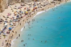 Porto Katsiki strand in Lefkada, Griekenland stock foto