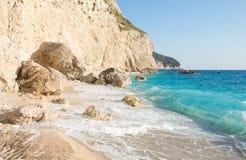 Porto Katsiki strand (Lefkada, Griekenland) Stock Foto