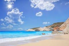 Porto Katsiki strand op een de zomerdag, het eiland van Lefkada Royalty-vrije Stock Afbeeldingen