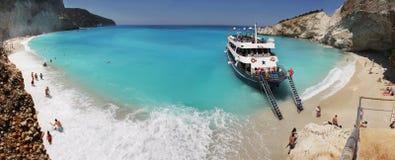 Porto Katsiki strandpanorama, Lefkada, Griekenland Royalty-vrije Stock Afbeelding