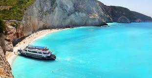 Porto Katsiki strandpanorama, Lefkada, Griekenland stock fotografie