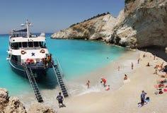 Porto Katsiki strandpanorama, Lefkada, Griekenland Royalty-vrije Stock Afbeeldingen
