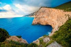 Porto Katsiki wybrzeże na Lefkada wyspie zdjęcie royalty free