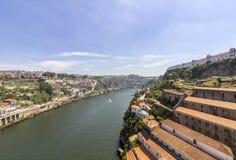 Porto krajobrazu widok nad Douro rzeką Zdjęcia Royalty Free