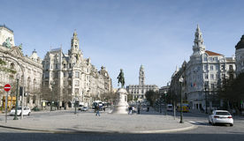Porto. Liberdade square with monument of King Peter IV and Porto city hall, Porto, Portugal Stock Image