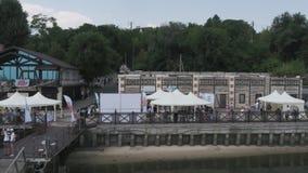 Porto litoral onde há pontes footage video estoque