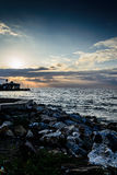 Porto marítimo da cidade das férias de verão Fotos de Stock