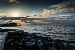 Porto marítimo da cidade das férias de verão Foto de Stock Royalty Free