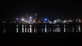 Porto marítimo da noite video estoque