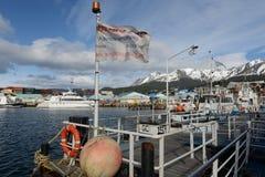 Porto marítimo de Ushuaia - a cidade do extremo sul no mundo Foto de Stock Royalty Free