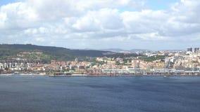 Porto marítimo industrial grande em Lisboa, Portugal video estoque