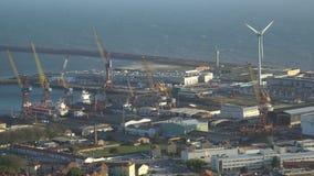 Porto marítimo industrial grande em Portugal video estoque