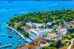 Porto marítimo na cidade Hvar, Croácia Imagem de Stock Royalty Free