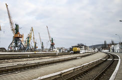 Porto marítimo na Crimeia, inverno 2014 foto de stock royalty free