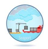 Porto marittimo colorato nel telaio del cerchio illustrazione vettoriale