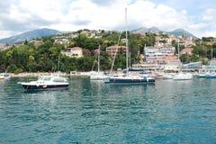 Porto marittimo del porticciolo di Castelnuovo, estate del Montenegro fotografie stock libere da diritti