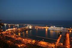 Porto marittimo di Barcellona alla notte Fotografia Stock