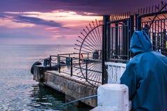 Porto marittimo dopo piovosità pesante - Turchia della città di vacanze estive Immagini Stock Libere da Diritti