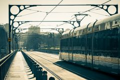 Porto Metro Train on the Bridge Royalty Free Stock Photo