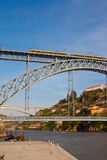 Porto metro train on Dom Luis I bridge Stock Photo
