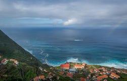Porto Moniz aerial view from the mountains. royalty free stock photos