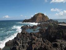 Porto Moniz Lava Rock Pools Stockfotos