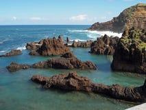 Porto Moniz lawy skały baseny Obraz Royalty Free