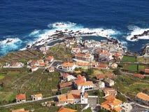Porto Moniz, Madeira Island. Aerial view of the village of Porto Moniz on Madeira Island stock photo