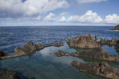 Porto Moniz, Madeira, Portugal - natural swimming pools; rugged rocks. royalty free stock photo