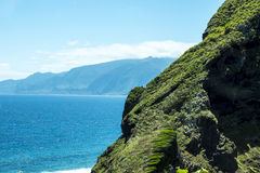 Porto Moniz on the North West Coast where the Mountains in the north of the Island of Madeira meet the Atlantic Ocean Stock Photography