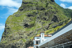 Porto Moniz on the North West Coast where the Mountains in the north of the Island of Madeira meet the Atlantic Ocean Stock Images