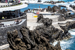 Porto Moniz on the North West Coast where the Mountains in the north of the Island of Madeira meet the Atlantic Ocean Stock Image