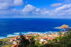 Porto Moniz. View of a beautiful town of Porto Moniz at the Madeira island, Portugal stock photos