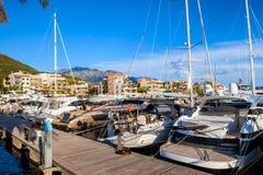 Porto Monténégro dans la baie de Kotor images libres de droits
