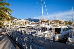 Porto Monténégro dans la baie de Kotor image libre de droits