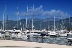 Porto Montenegro Elitmarina av Tivat i Montenegro, Mediterraneans den ledande lyxiga yachthomeporten och marinaby royaltyfri fotografi