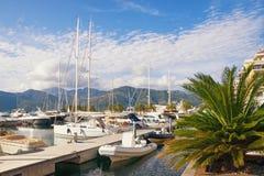 Porto Montenegro marina i den Tivat staden på en solig höstdag Montenegro Arkivbild