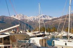 Porto Montenegro marina i den Tivat staden på en solig vinterdag Montenegro Arkivbild