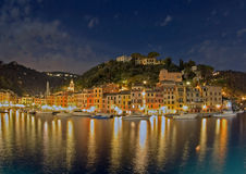 Porto na noite, Italy de Portofino Fotos de Stock Royalty Free