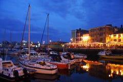 Porto na noite, Plymouth, Reino Unido Fotografia de Stock