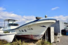 Porto natural da ilha de Japão Kagoshima Sakurajima foto de stock
